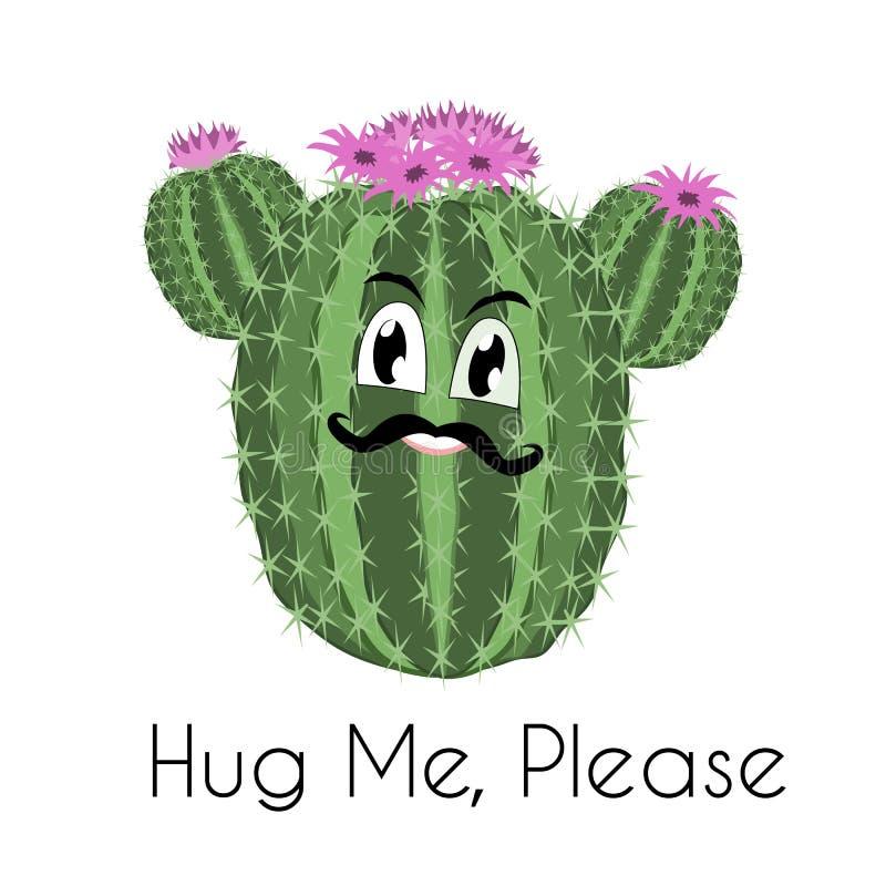 Kaktusowy druk z śmiesznym kaktusem w wektorze Pocztówkowy ` Ściska ja zadawala ` ilustracji