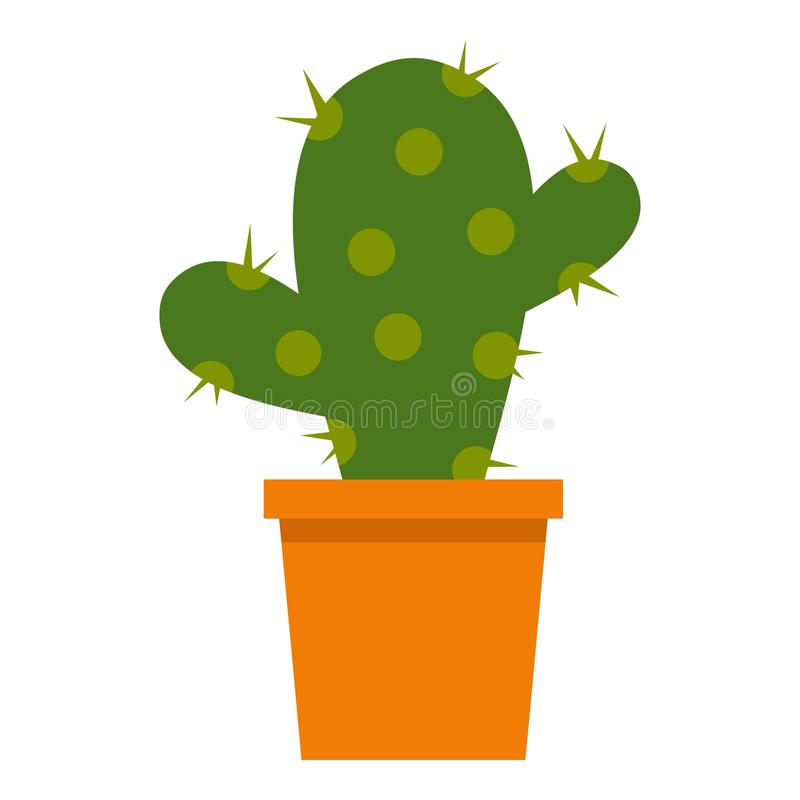 Kaktusowy kwiat w garnek ikonie odizolowywającej ilustracji