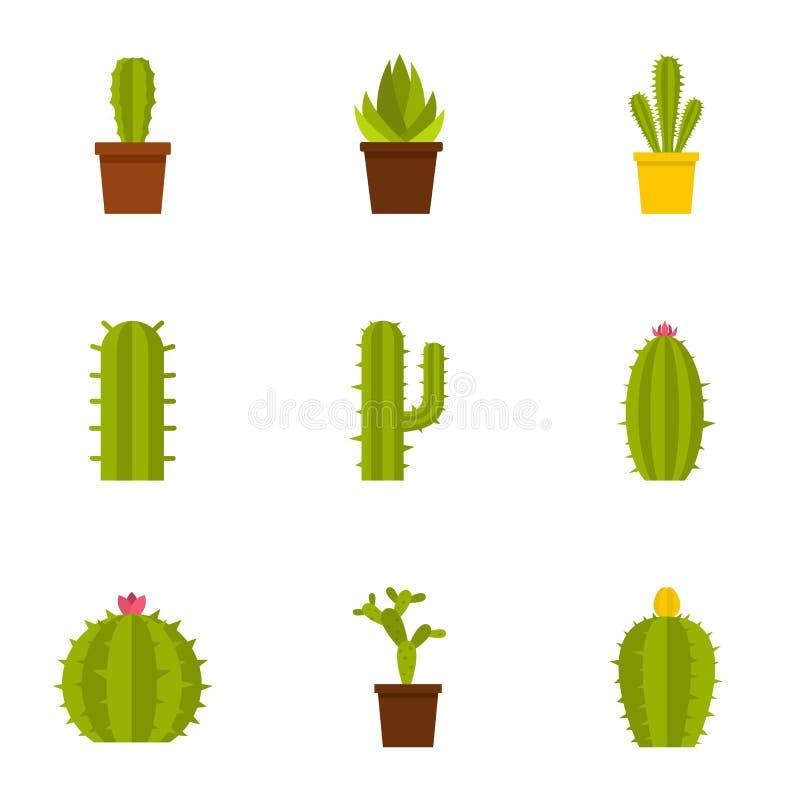 Kaktusowy rośliny ikony set, mieszkanie styl ilustracja wektor