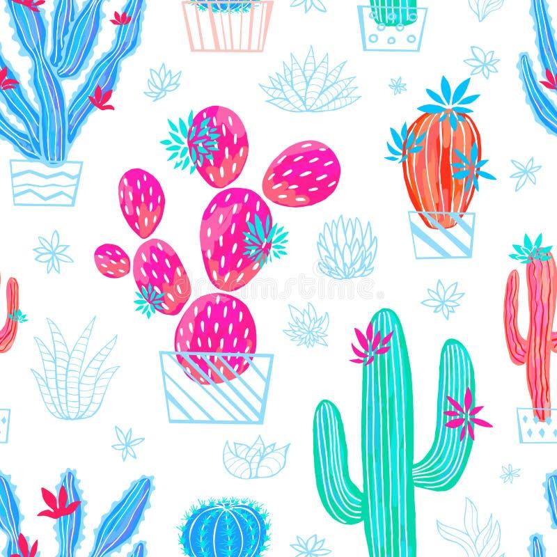 Kaktusowy tłustoszowaty dziki bezszwowy wzór kwitnie kolorowej akwareli jaskrawe kolekcje ilustracji