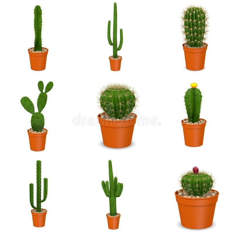 9 kaktusowych kwiatów w garnkach ilustracji