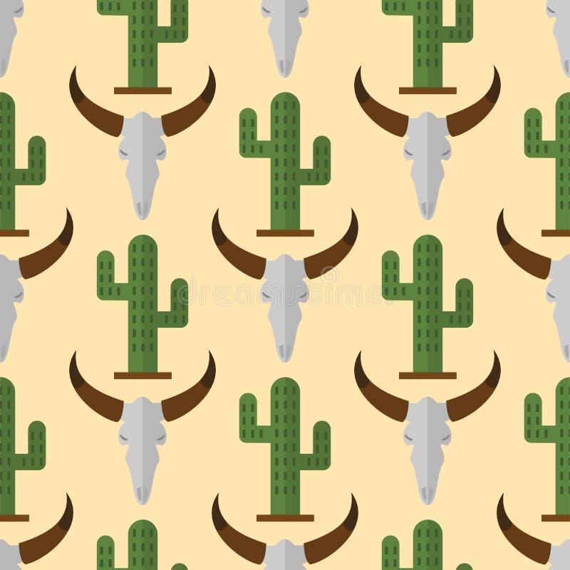 Kaktusowych natury pustyni kwiatu tropikalnej rośliny krowy czaszki meksykańskich tłustoszowatych bezszwowych deseniowych kaktusó ilustracji