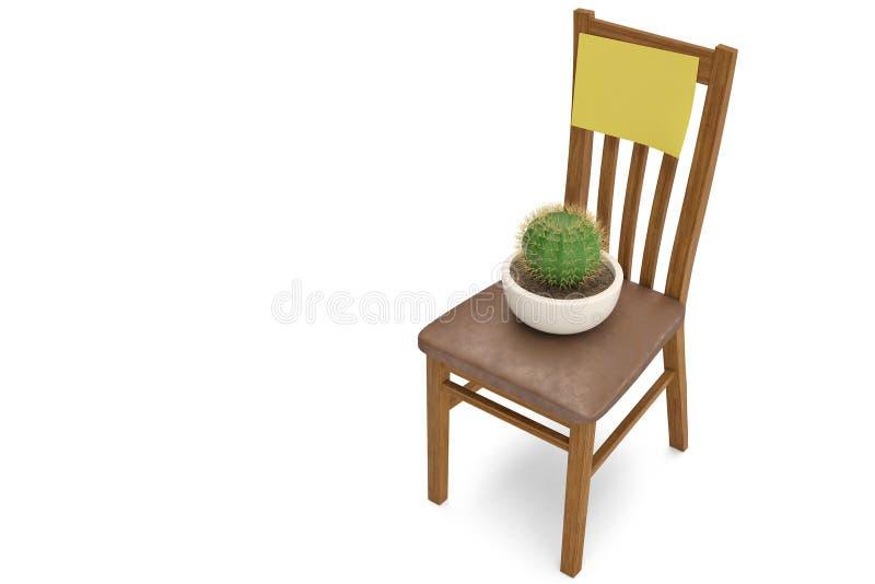 Kaktuspflanze auf chiar Abbildung 3D stock abbildung