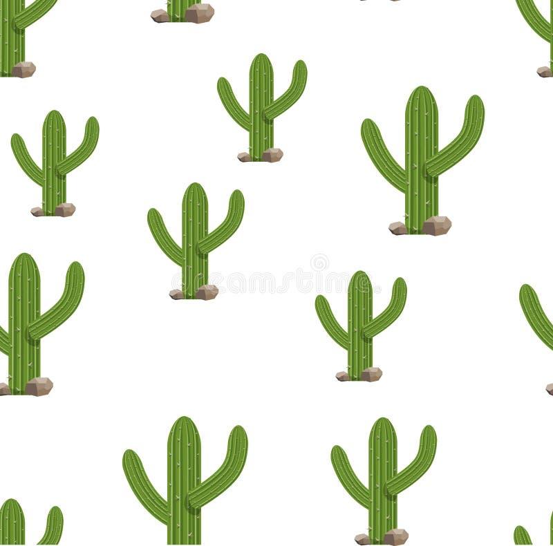 Kaktuspflanzen auf weißer nahtloser Hintergrundillustration Grün lokalisierte Kaktussatz vektor abbildung