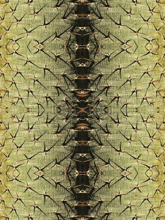 Kaktusstam med stora törnar royaltyfri illustrationer