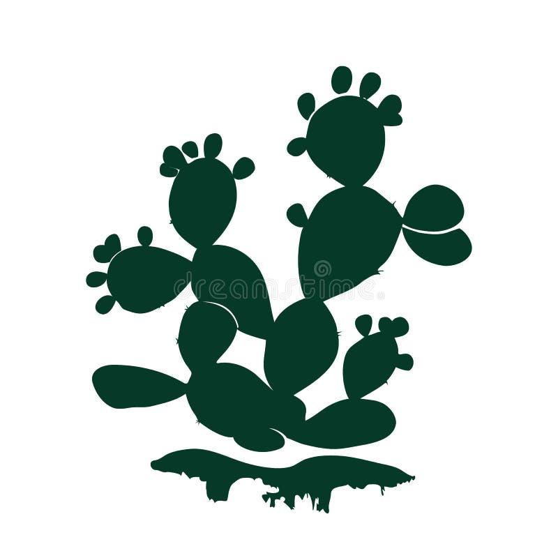 Kaktussymbol för taggigt päron som isoleras på vit bakgrund Opuntia indica kontur för fikus med mogna frukter, vektor stock illustrationer