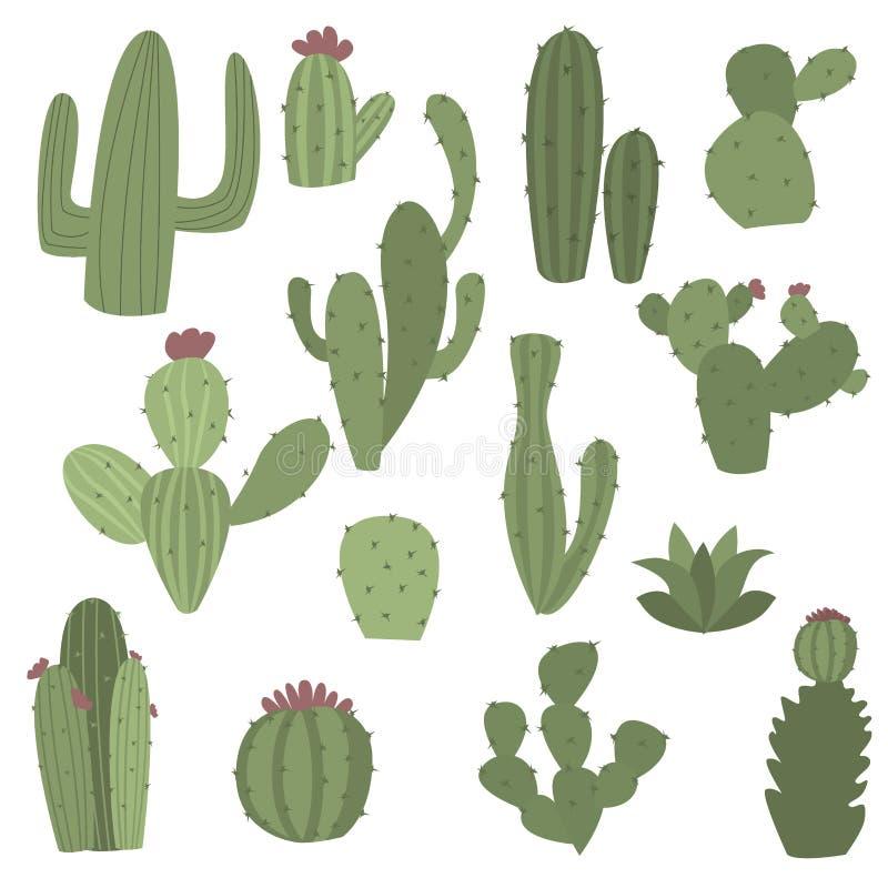 Kaktussymboler i plan handrawn utformar på den vita bakgrundsvektorillustrationen royaltyfri illustrationer