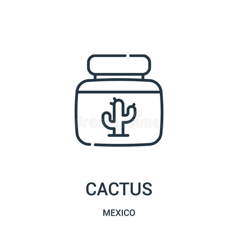 kaktussymbolsvektor från den Mexiko samlingen Tunn linje illustration för vektor för kaktusöversiktssymbol royaltyfri illustrationer