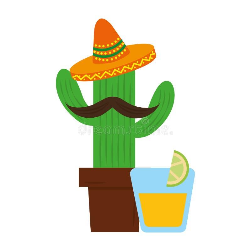 Kaktustecknad film med mexikanen f?r hatttequiladrink royaltyfri illustrationer