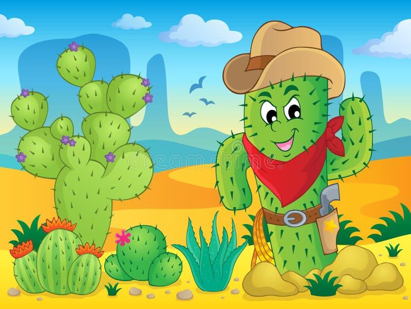 Kaktustemabild 4 vektor illustrationer