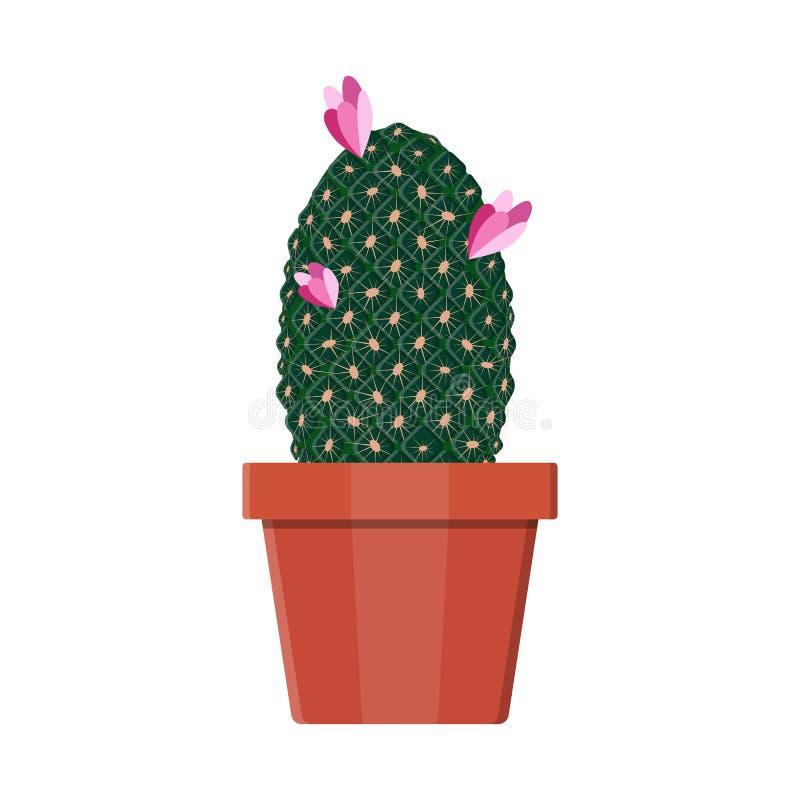 kaktusväxt i blomkruka Garneringhemväxt royaltyfri illustrationer