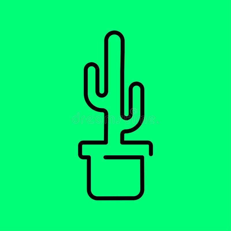 Kaktusv?xt i en krukasymbol Linje konstvektorillustration Plan stildesign vektor illustrationer