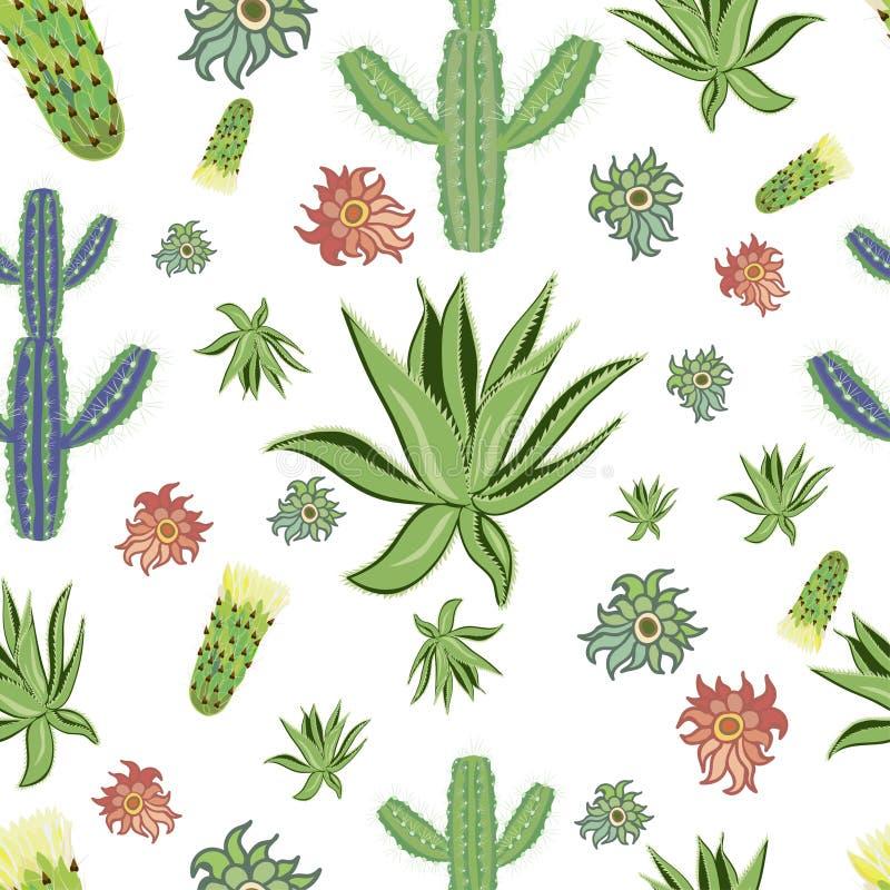 Kaktusvektor och blommabackgraundtryck arkivbilder