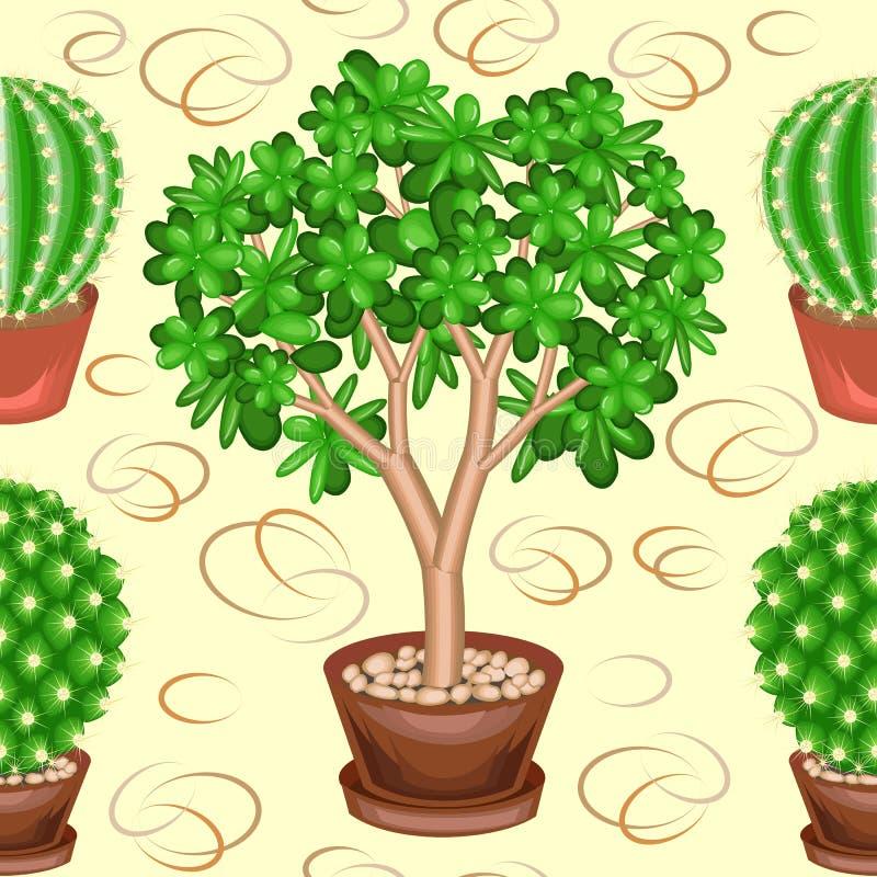 Kaktusy i grubosz w garnkach na zielonym tle Galanteryjny wz?r Stosowny równie tapetowy jako tło dla prezenta opakowania dalej, ilustracji