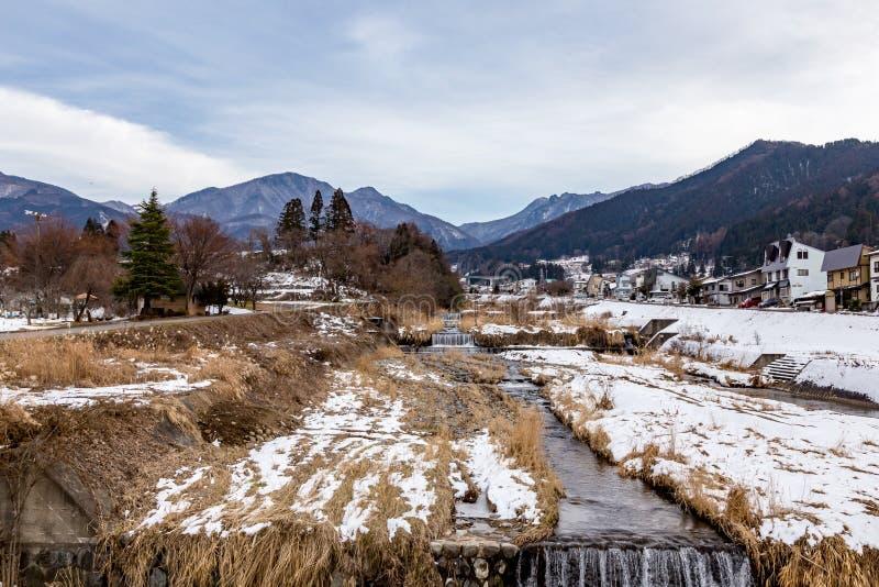 The Kakuma river in Yamanouchi, Nagano, Japan. The Kakuma River and mountains seen from Yamanouchi, Nagano Prefecture, Japan. Nagano is well known for the stock photo