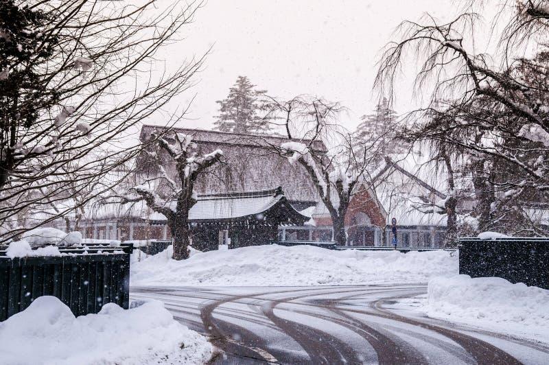 Kakunodate - Akita in de winter, sneeuwdekking over de stad stock foto