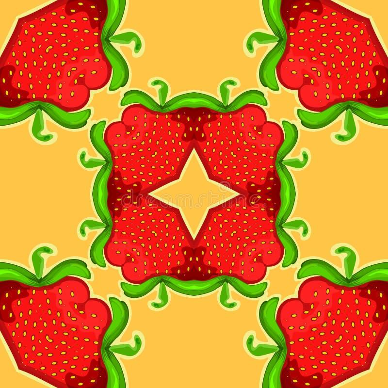 Kaléidoscope de fraise Texture sans joint de vecteur Configuration de vecteur illustration stock
