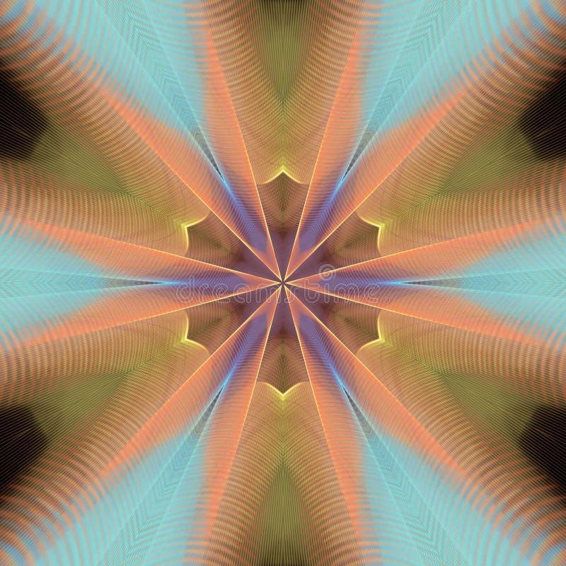Kaléidoscope orange avec des tranchants illustration stock