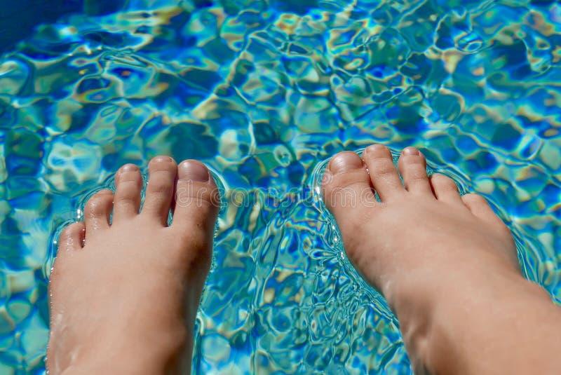 Kal fot som vilar på yttersidan av pölvatten royaltyfri bild