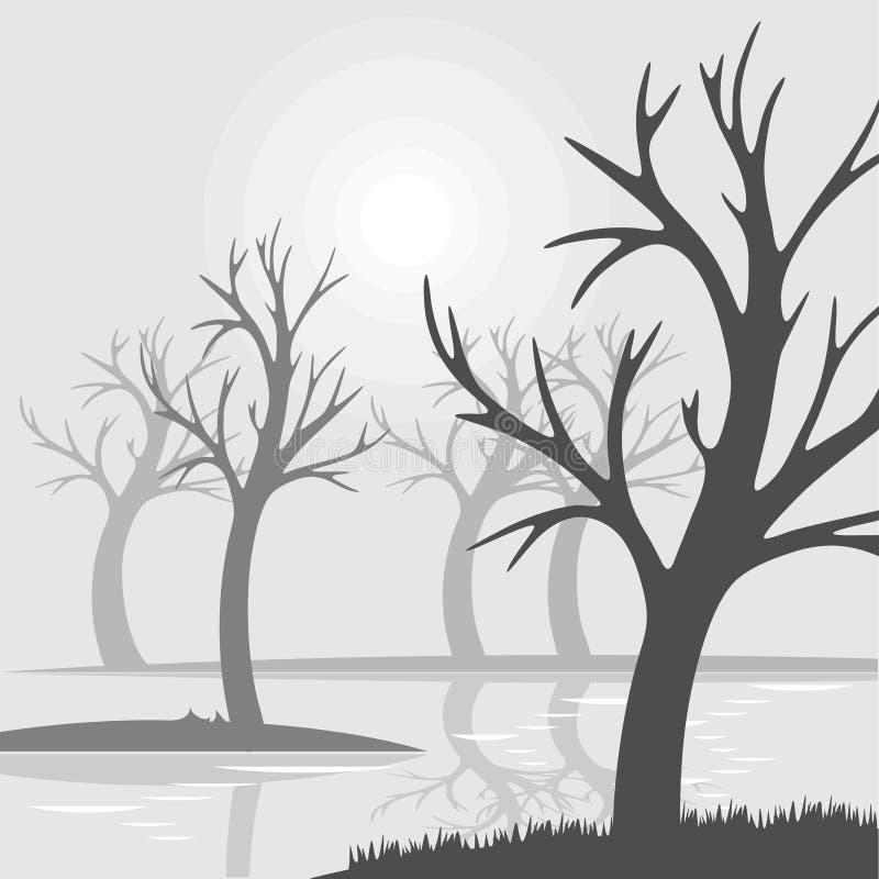 Kala träd på ett träsk fördunklar med reflexion i vatten royaltyfri illustrationer