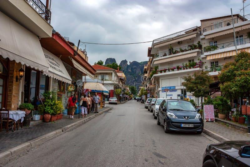 KALABAKA, GREECE - JUNE, 2011: Street of Kalambaka. KALABAKA, GREECE - JUNE, 2011: Downtown of Kalambaka, Greece. It is a popular tourist destination royalty free stock images