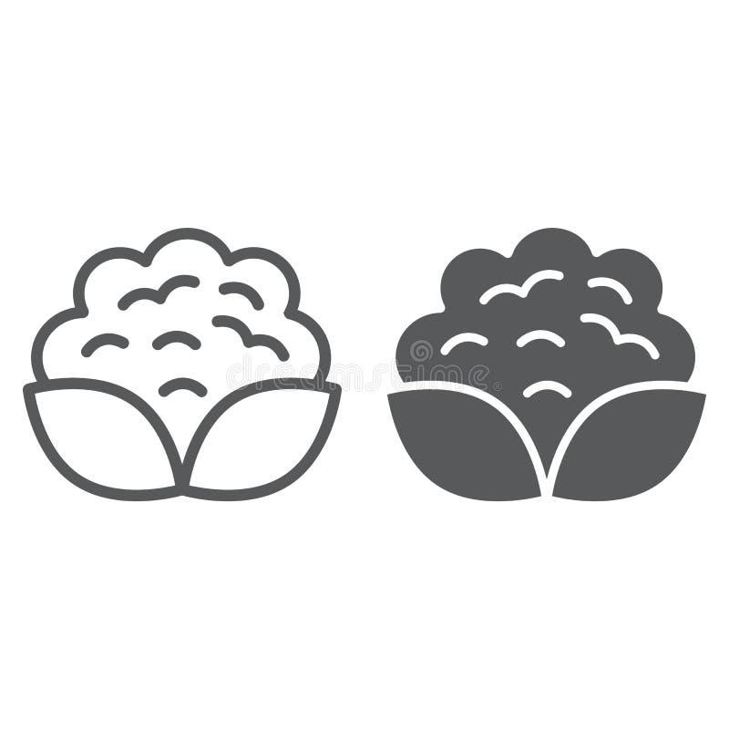 Kalafior linia i glif ikona, warzywo royalty ilustracja