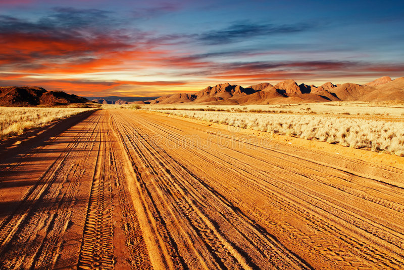 Kalahari Desert, Namibia. Road in Kalahari Desert, Namibia royalty free stock image