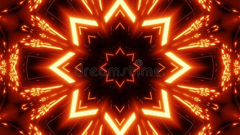 Kalaidoscope alaranjado vermelho da estrela com o papel de parede de incandescência do fundo do teste padrão ilustração royalty free