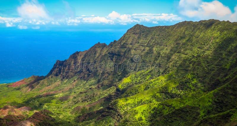 Kalalau在Kokee国家公园,Na帕利海岸,考艾岛,夏威夷,美国的谷监视 免版税库存图片