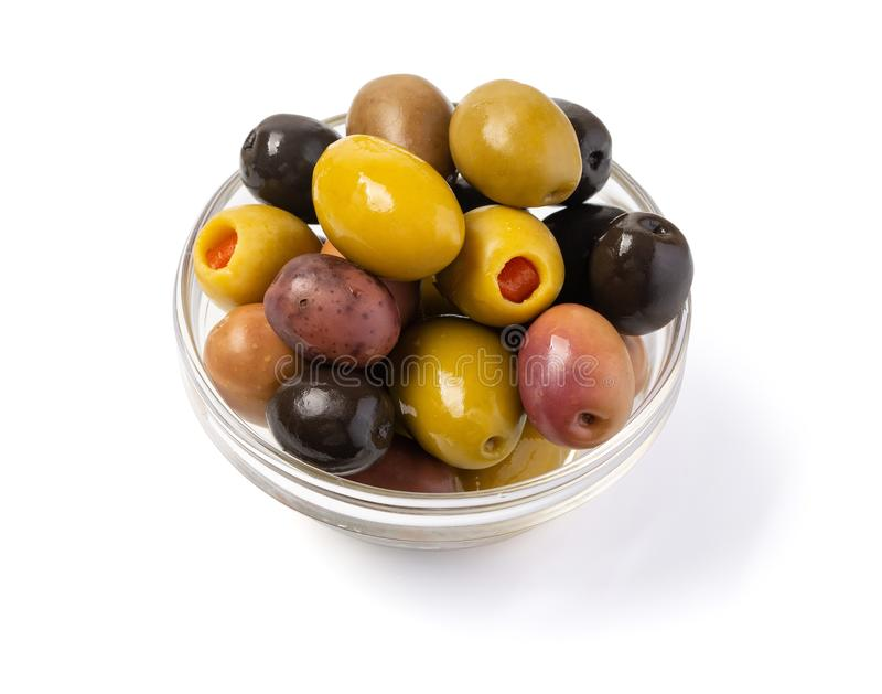 Kalamata and conservolia olives in a white bowl isolated against stock photo