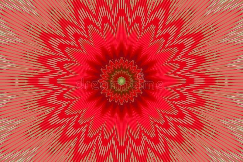 Κόκκινο σχέδιο λουλουδιών καλειδοσκόπιων υποβάθρου Kalamkari διανυσματική απεικόνιση
