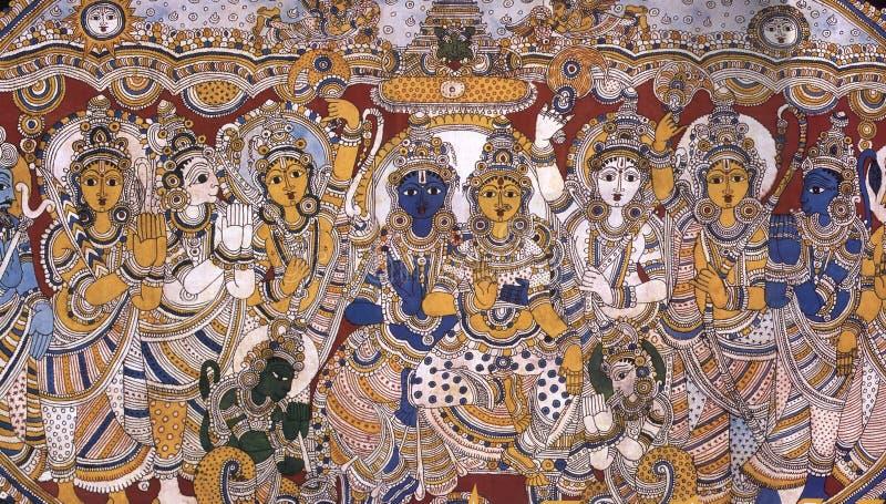 Kalamkari het schilderen van Lord Rama-Sita stock afbeelding