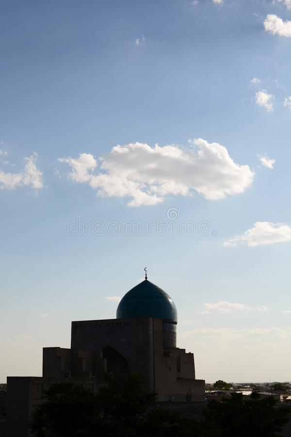 Kalan mosque silhouette. Bukhara. Uzbekistan. Bukhara is a city in Uzbekistan, located on the ancient Silk Road, rich in historical sites, with about 140 royalty free stock photography