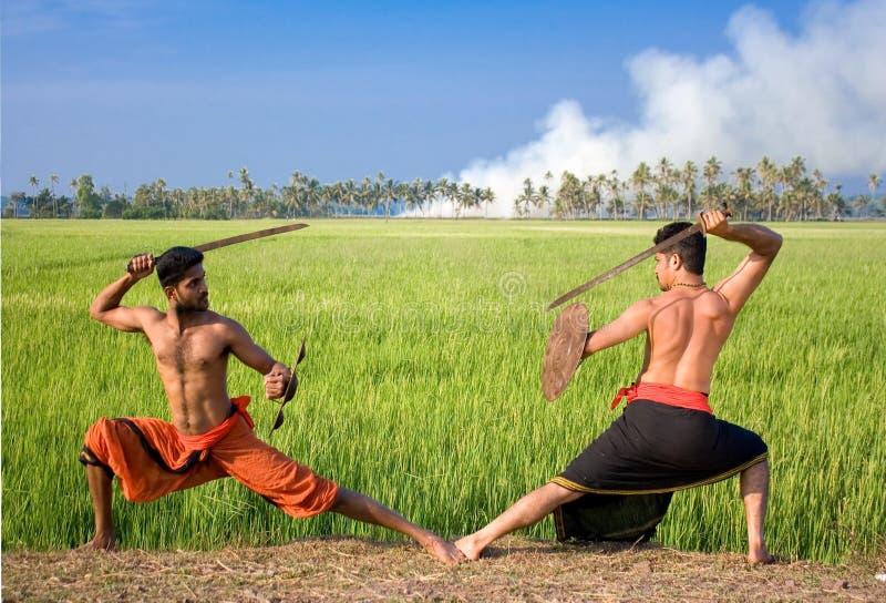 Kalari, arte marcial indio foto de archivo