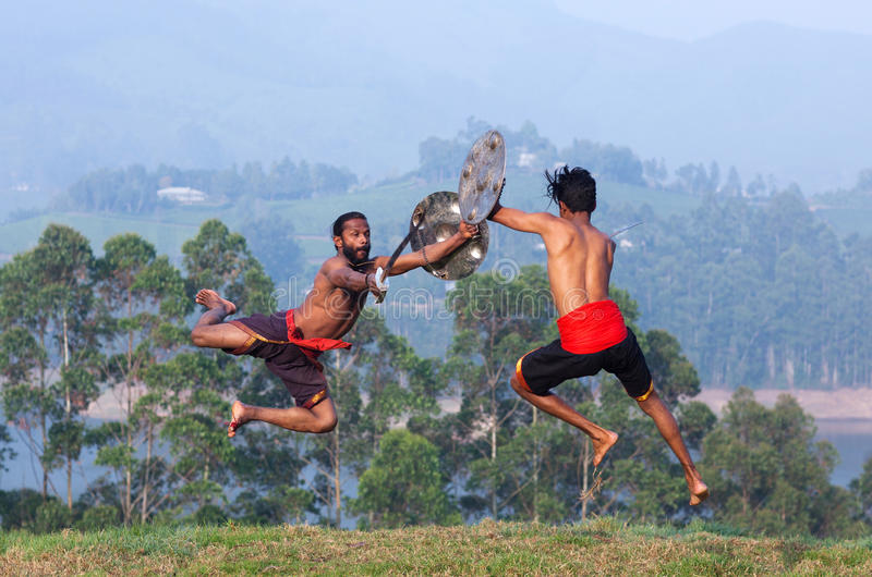 Kalaripayattu武术在喀拉拉,印度 库存照片