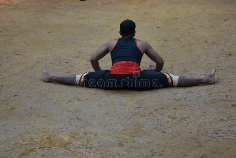 Kalaripayattu kampsport, Kerala royaltyfri fotografi