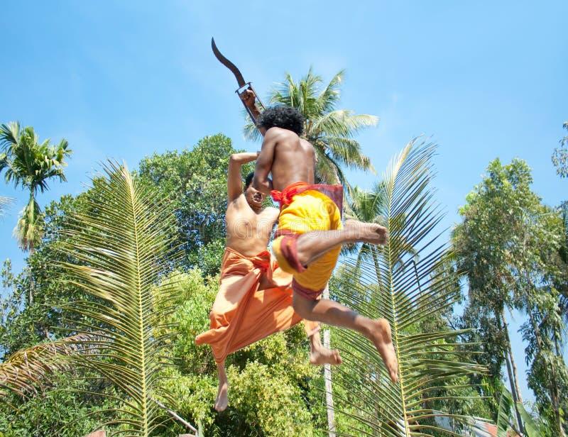 Kalarippayat, ινδική αρχαία πολεμική τέχνη του Κεράλα στοκ εικόνες