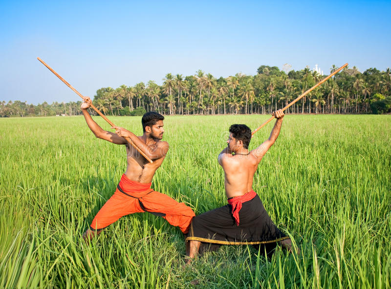 Kalarippayat, ινδική αρχαία πολεμική τέχνη του Κεράλα στοκ εικόνα με δικαίωμα ελεύθερης χρήσης