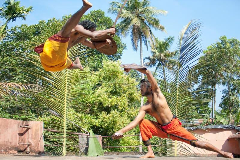 Kalarippayat, πάλη στον αέρα, αρχαία πολεμική τέχνη στοκ εικόνες με δικαίωμα ελεύθερης χρήσης