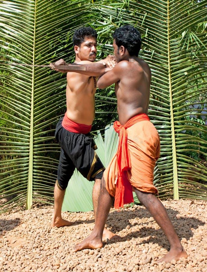Kalarippayat, indische alte Kampfkunst von Kerala stockbilder