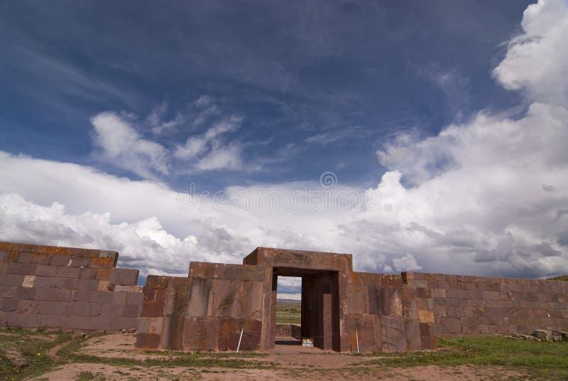 Kalasasaya Temple, Tiwanaku, Bolivia. Main Entrance to Kalasasaya Temple, Tiwanaku, Bolivia. Declared UNESCO World Heritage Site royalty free stock photo