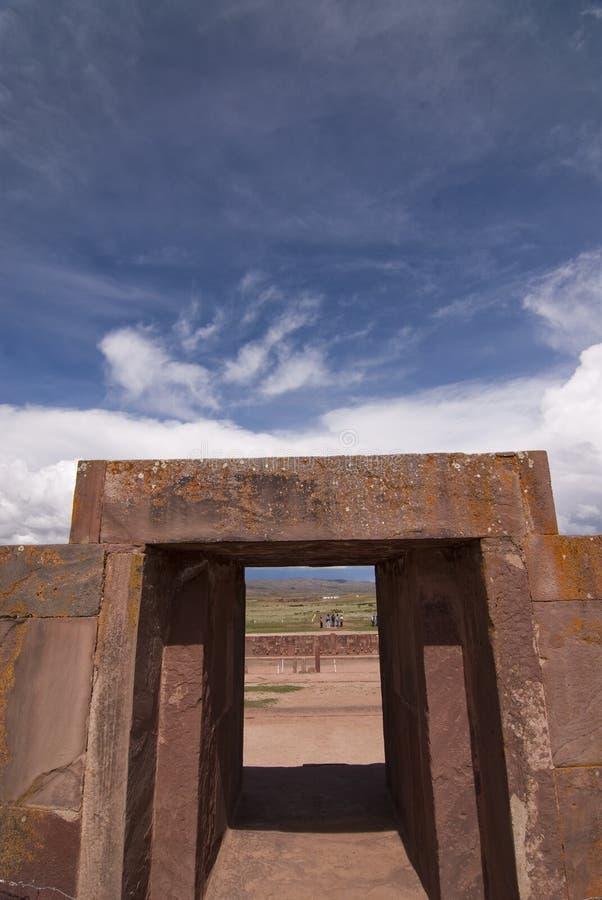 Kalasasaya Temple, Tiwanaku, Bolivia. Main Entrance to Kalasasaya Temple, Tiwanaku, Bolivia. Declared UNESCO World Heritage Site stock photo