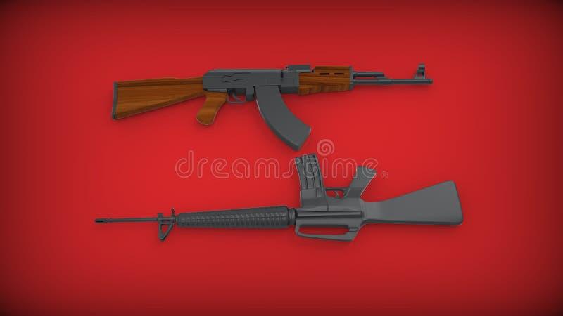 Kalashnikov AK-47 e M 16 no fundo vermelho foto de stock