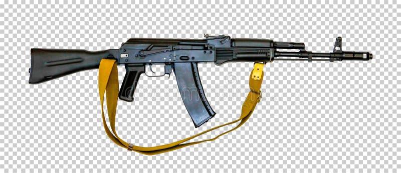 Kalashnikov AK-74M with a belt, transparent background, png, royalty free stock photo
