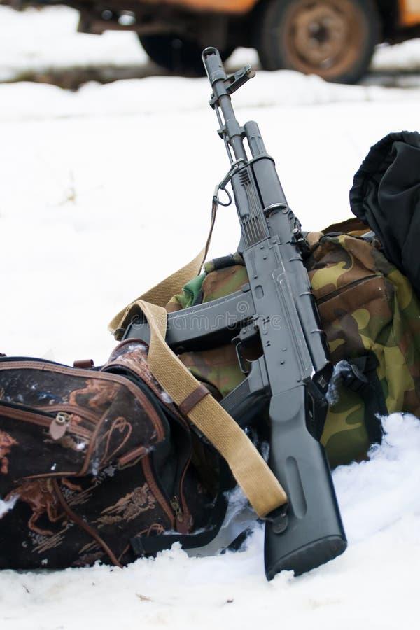 Kalashnikov assault rifle AK-74. On the snow stock photo