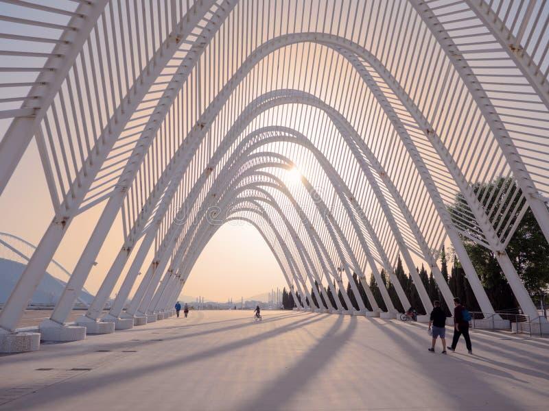 Kalatrava-` s Bau im Olympiastadion in Athen stockbilder