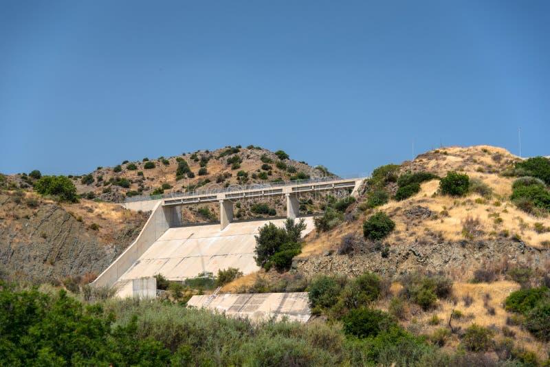 Kalavasos水坝,塞浦路斯 图库摄影