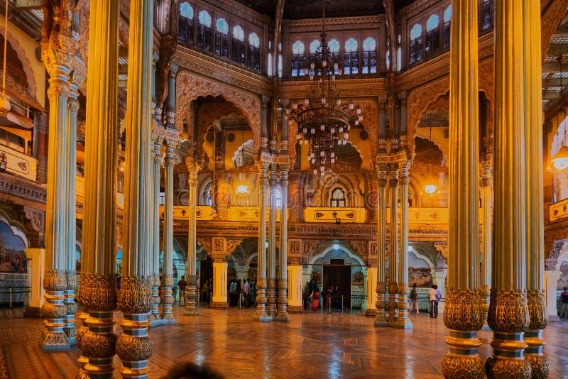 Kalayana Mantapa Hall , Interior of Mysore Palace, Karnataka, India royalty free stock photography