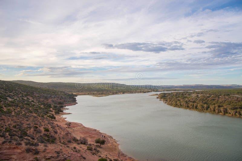 Kalbarri :俯视的默奇森河 库存图片