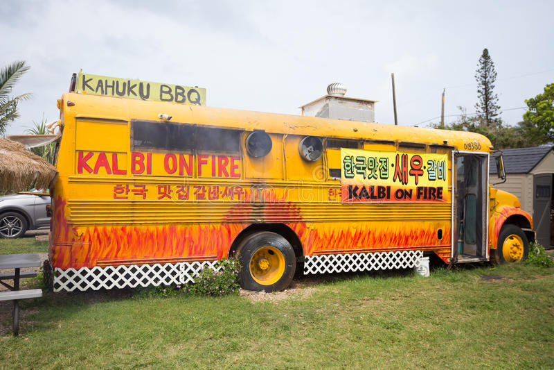 Kalbi на шине еды BBQ Kahuku огня стоковое изображение rf